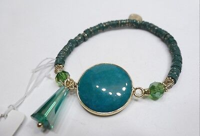 A77) RGLB Laura Janelle Bracelet - Green Gemstone & Crystal Teardrop - New ()