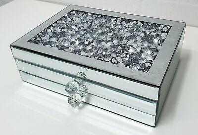 Gatsby Espejo Apiñado Cristal Plata Diamante Joyero Biselado Vidrio 2 Cajón