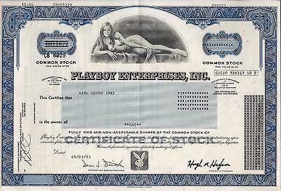 Playboy Enterprises Inc., 1983 - die legendäre Bunny Aktie (1 Share) blau