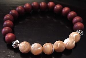 Mother of Pearl + Mahogany Wood bead bracelet