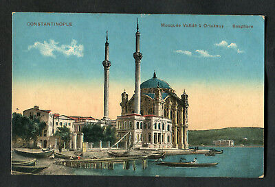 C1920s View: Fishing Boats & Ortakoy Mosque, Istanbul