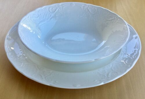 "$144 Johnson Brothers RICHMOND WHITE Oval 9"" Vegetable Bowl 12"" Platter 2-pcSET"