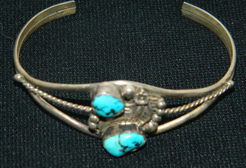 013#JQ--Bracelet Turqoise Sterling Leaf Vintage Western Indian Design