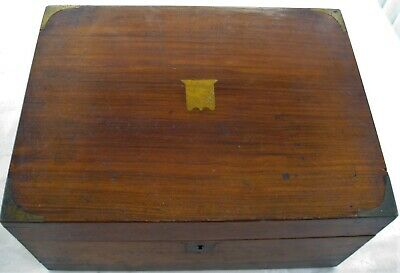 Victorian Writing Slope Mahogany English Brass Corners Small Folding Box