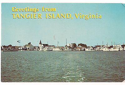 TANGIER ISLAND Boats Chesapeake Bay Greetings From Virginia Postcard VA