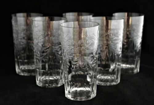 SET 6 LIBBEY ROCK SHARPE CRYSTAL HIGHBALL GLASSES TUMBLERS