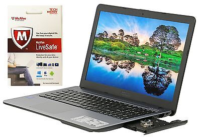 """New Asus Laptop Bundle 15.6"""" Intel N3710 2.56GHz 4GB 1TB HDD DVDRW with McAfee"""
