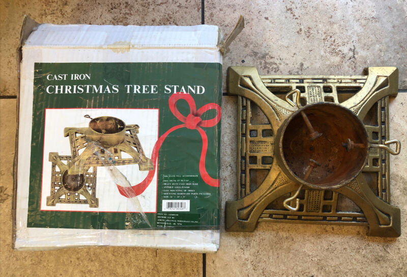 """Heavy Cast Iron Antique Gold Christmas Tree Stand - Holds Trunk up 5 3/4"""" in box"""