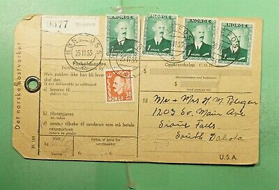 DR WHO 1955 NORWAY HONEFOSS PARCEL POST TAG TO USA  g20130