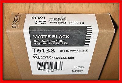 08-2009 NEW IN BOX GENUINE  EPSON T6138 MATTE BLACK INK CARTRIDGE FOR 4450 4880