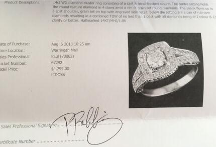 24 ct engagement ring, wedding band & eternity ring set