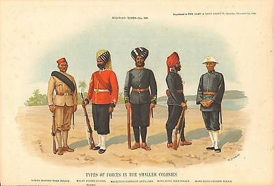 1900 Richard Simkin Military Print, 156 Types of Forces in the Smaller Colonies