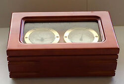 Bulova Wood & Brass Desk Clock and Temperature Gauge, B7273, New Without Box