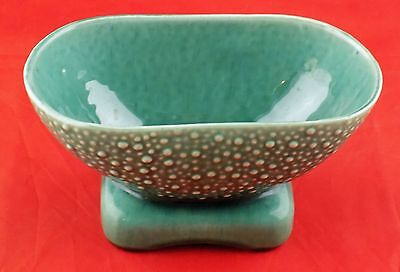 Vintage Brush (McCoy) Green Footed Hobnail Stoneware Bowl/Planter USA 821 Signed