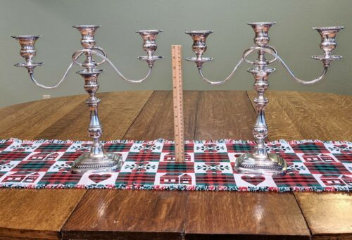 Pair of Barbour Silver Co Candelabra Antique Convertible Weighted SUPERB!