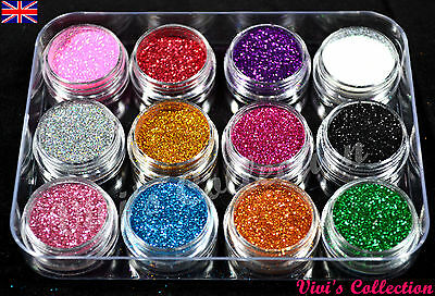 12 Colours Glitter Dust Powder Set - Nail Art Tips Decoration / Crafts / DIY