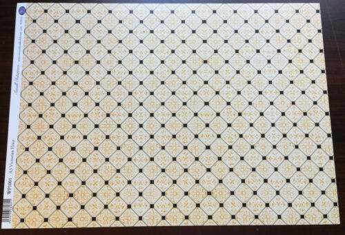 Dollhouse Miniature Black & Gold Victorian Faux Tile Flooring Sheet 1:12 Scale