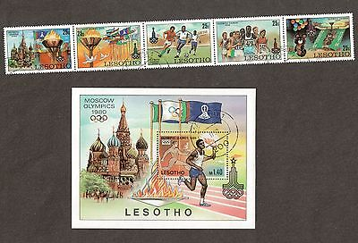 Lesotho 291 - 296 - Moscow Olympics 1980. Cancelled.   #02 LESO291s