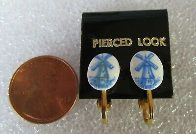 Holland Dutch Windmill Delft Like Blue & White Porcelain Clip Earrings On Card