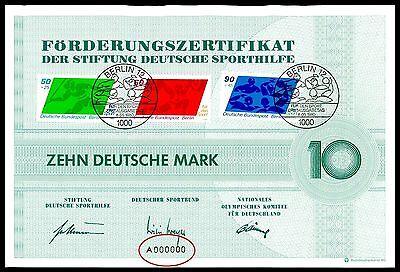 "BERLIN SPORTHILFE ZERTIFIKAT 1980 Nr. ""A000000"" NUMBER RARE! WASSERBALL z1877"