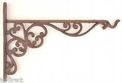 "Cast Iron Plant Hanger Ornate Basket Hook 13.625"" Long Yard Garden Outdoor Decor"