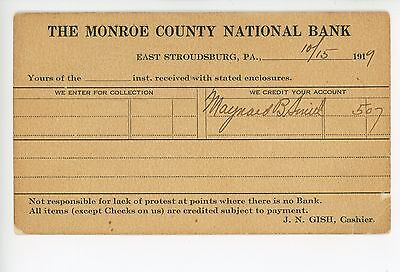 Monroe County National Bank East Stroudsburg Receipt Postcard 1919