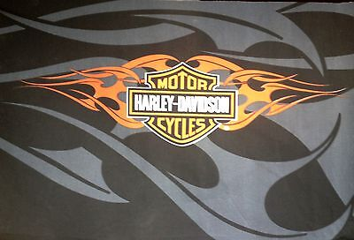 Harley Davidson Shield & Flames fabric for Flag/Throw etc.