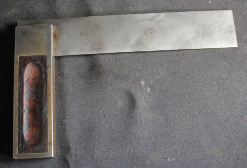 """Antique Stanley No. 10 Inlaid Try Square 6"""", Type 2"""