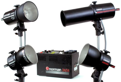 Norman P24/24 Power Pack with Four LH2400 Flash Heads, Snoot, Reflectors & Bulbs