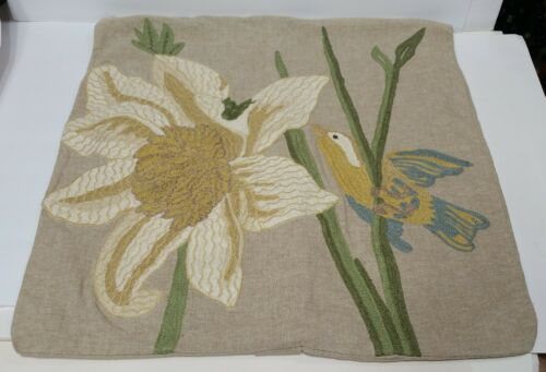 Pair (2) Pottery Barn embroidered bird flower  tan gold 24 x 24 Pillow covers