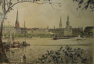 Große Farbradierung Hamburg um 1960                                        /4393
