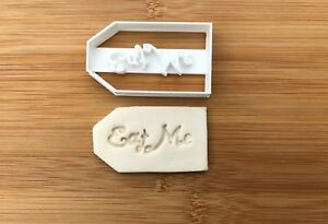 Alice in Wonderland TAG Eat Me Plastic Cookie Cutter Fondant Cake Decorating
