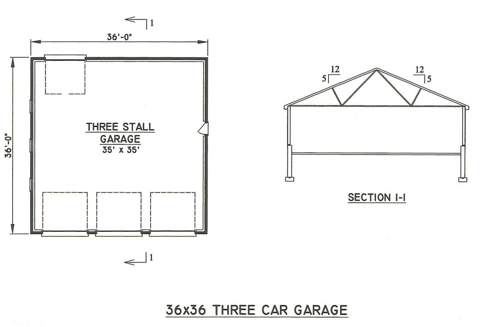 36 X 36 3 To 6 Car Garage Building Plans Blueprints