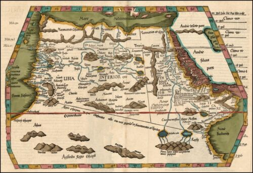 1525 AFRICA Prester John early map mythical information Waldseemuller 20640 *