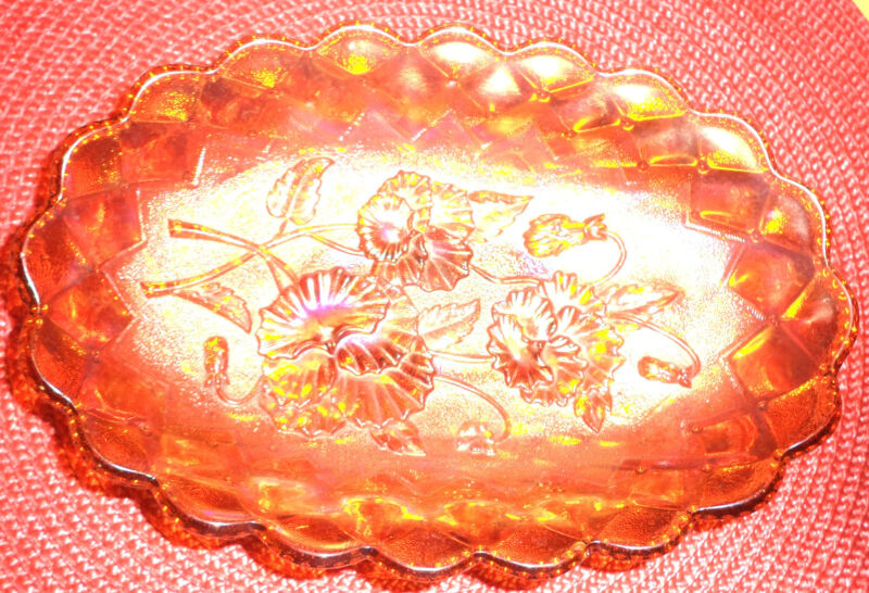 """VINTAGE IMPERIAL CARNIVAL GLASS PANSY QUILTED OVAL BOWL RUFFLED 9"""" AMBER BROWN"""