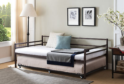Kings Brand Modern Metal Twin Size Daybed Frame with Trundle Bed, Bronze Finish