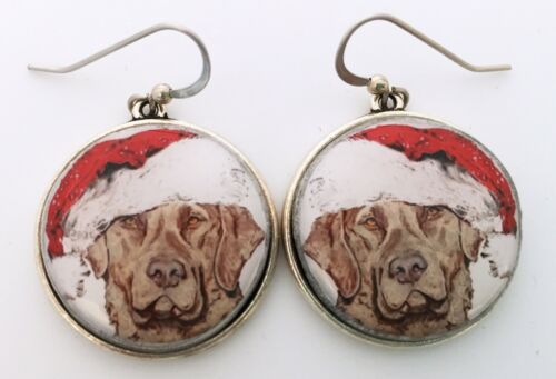 Santa Chesapeake Bay Retriever Christmas Original Art Earrings