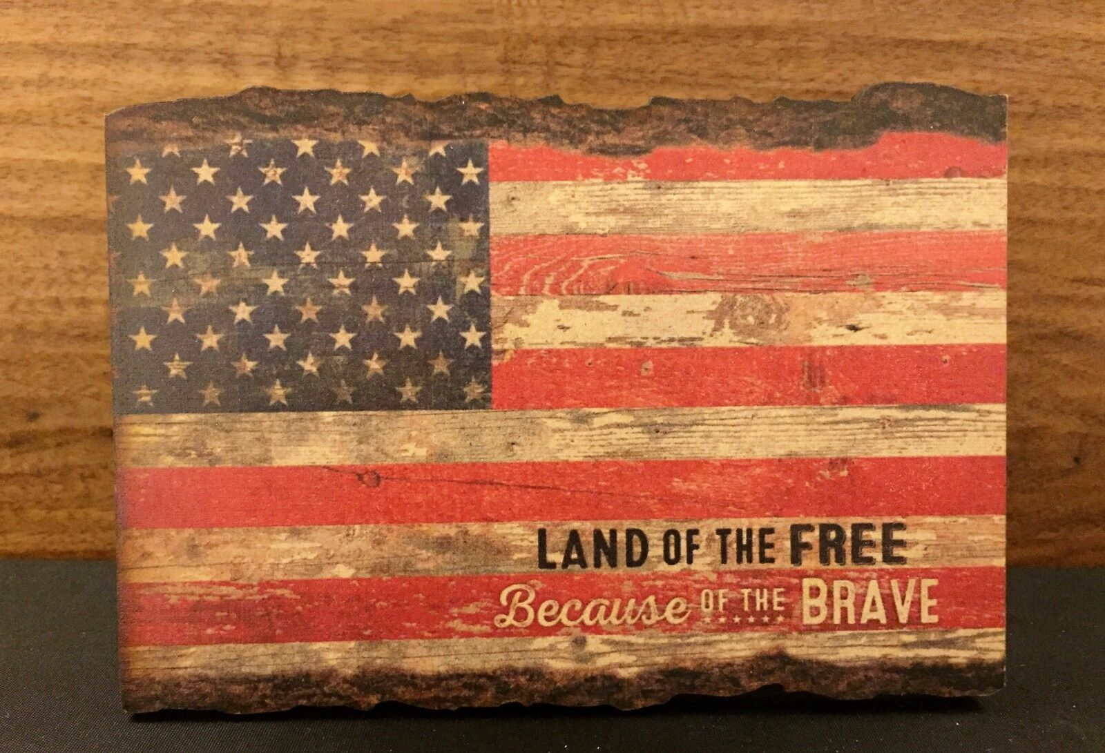 LAND OF THE FREE BECAUSE OF THE BRAVE barky wood sign 4.5 x