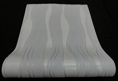 1 Rolle hochwertige Vlies Tapete Retro-Welle weiss metallic 13191-20 1,87€//1qm