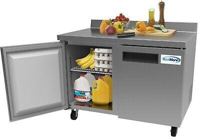 Stainless Steel 48 Two Door Commercial Worktop Refrigerator Cooler 12 Cu. Ft.
