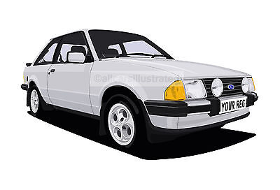FORD ESCORT XR3  CAR ART PRINT PICTURE (SIZE A3). PERSONALISE IT!