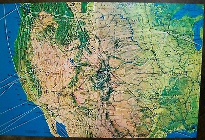 Western Airlines Route Map USA Hawaii Alaska clipping Pages from 1980 Magazine