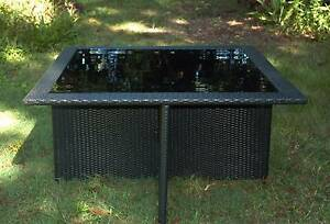 WICKER DINING TABLE Matisse Black Cube Outdoor Rattan BBQ Rattan Myocum Byron Area Preview