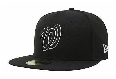 White Washington Hat - New Era 59Fifty MLB Baseball Cap Washington Nationals Black White Fitted Hat