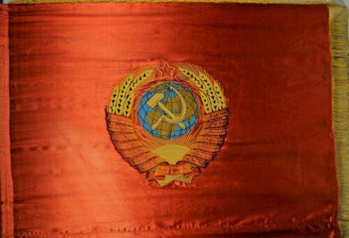 """Authentic Vintage 55"""" x 42"""" Soviet Flag Hammer & Sickle Large Banner Lenin USSR"""