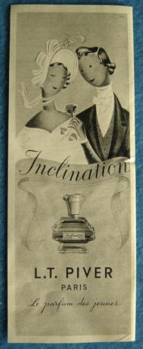 """Publicité Papier - Parfum """"inclination"""" L.T. Piver de 1957"""
