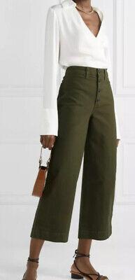 Madewell Emmett Wide Leg Crop Pants High Waist Stretch Olive Green Size 28 -