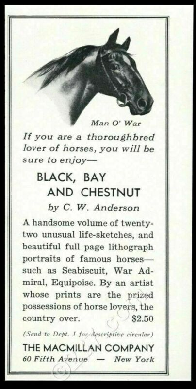1939 Man-O-War horse portrait Black Bay and Chestnut book release print ad