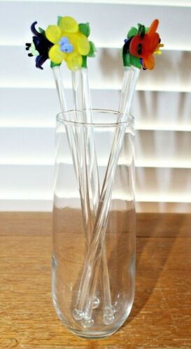 """5 7/8""""H Glass Holder with 5 Floral Topped Glass Drink Swizzle Sticks,Stirrers"""