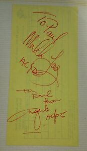 Angus Young Malcolm Young of AC/DC 1970s Original Autograph, signatures on paper